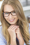 Beautiful Blond Girl Woman Wearing Glasses Stock Photography