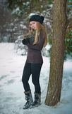 Beautiful blond hair girl in winter clothes Stock Photography