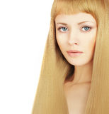 Beautiful blond hair - woman. With luxury hairstyle Stock Photos