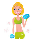 Beautiful blond hair woman exercising with weights vector illustration