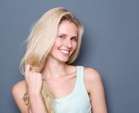 Beautiful blond hair woman smiling Royalty Free Stock Image