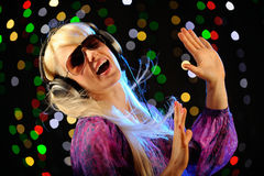 Beautiful blond with headphones Stock Photography