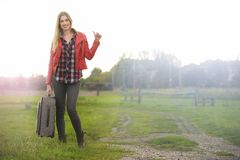 Beautiful Blond Hitchhiker Royalty Free Stock Photo
