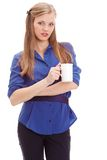 Beautiful blond holding white mug Stock Photos
