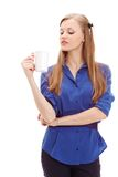 Beautiful blond holding white mug Royalty Free Stock Photos