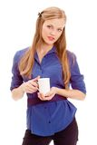 Beautiful blond holding white mug Stock Photo