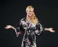 Beautiful blond in kimono Stock Images