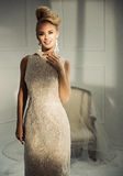 Beautiful blond lady in a luxury apartment Stock Images