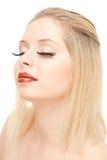 beautiful blond with lengthen eyelashes stock images