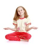 Beautiful blond little girl sitting on the floor Royalty Free Stock Photography