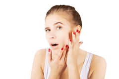 Beautiful blond mode morning l pampering, skincare concept Royalty Free Stock Photos