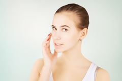 Beautiful blond mode morning l pampering, skincare concept Royalty Free Stock Image