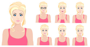 Beautiful blond model girl with different facial emotions and expressions set. Vector illustration. stock illustration