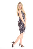 Beautiful blond in polka dot dress Royalty Free Stock Images