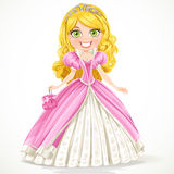 Beautiful blond princess in a pink ball gown Stock Photography