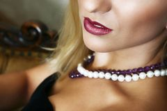 Beautiful blond with red lips stock image