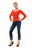 Beautiful blond in red sweater Royalty Free Stock Photography