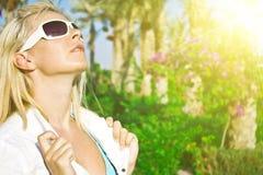 Beautiful blond relaxing Stock Photos