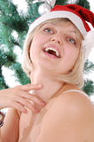 Beautiful blond Santa girl Royalty Free Stock Images