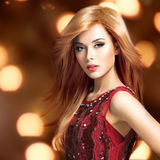 Beautiful blond sexy woman with long hairstyle Royalty Free Stock Photography