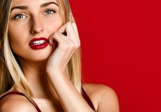 Women model girl in love Valentine`s Day with a red lips stunning amazing blue eyes. Beautiful blond woman model girl in love Valentine`s Day with a red lips royalty free stock photos
