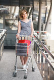 Beautiful blond with shopping cart Stock Images