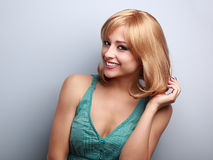 Beautiful blond short hair style young woman toothy smiling Royalty Free Stock Photo