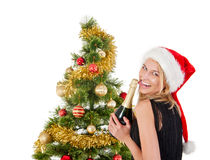 Beautiful blond smiling woman and the Christmas tree Stock Images