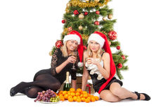 Beautiful blond smiling women with chrismas tree Royalty Free Stock Photos