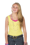 Beautiful blond teen. Age girl in studio with isolated photos Stock Photo