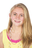 Beautiful blond teen. Age girl in studio with isolated photos Royalty Free Stock Photography