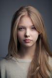 Beautiful blond teen girl portrait. Very beautiful blond teen girl with long hair Stock Photography