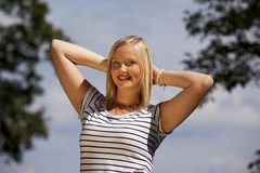 Beautiful blond teenage girl Stock Images