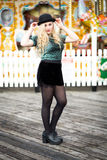 Beautiful Blond Teenage Girl in a Bowler Hat Royalty Free Stock Photos