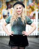Beautiful Blond Teenage Girl in a Bowler Hat Stock Photography