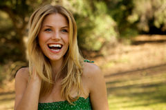 Beautiful Blond with Toothy Smile Stock Images