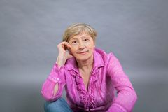 Beautiful blond trendy senior lady Stock Photography