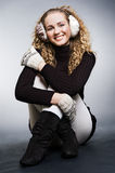 Beautiful blond in winter clothes Stock Photo