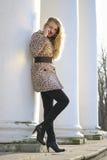 Beautiful blond woman. Posing outdoors Stock Photos