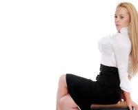 Beautiful blond woman. Portrait of beautiful blond woman posing on white Royalty Free Stock Photography