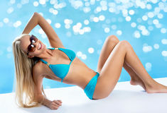 Beautiful blond woman. On the beach Stock Images