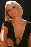 Beautiful Blond Woman. Wearing a black top Stock Photo