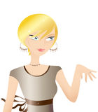 Beautiful Blond Woman. In A Brown Dress, Presenting Her New Engagement Ring To A Friend Royalty Free Stock Image