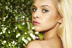 Beautiful blond woman with apple tree. summer Stock Photo