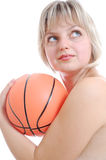 Beautiful blond woman with a ball Royalty Free Stock Photography