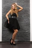 Beautiful blond woman in black dress. Posing at a brick wall, indoors, studio lighting, fashion photography Royalty Free Stock Photography