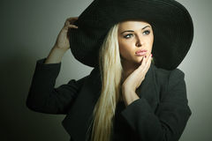 Beautiful Blond Woman in Black Hat.Spring Topcoat. Royalty Free Stock Image
