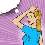 Girl in Pop Art Comic Style on Purple Background Royalty Free Stock Photo