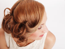 Beautiful blond woman with curly hairstyle Stock Photography