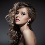 Beautiful Blond Woman. Curly Long Hair Stock Photography